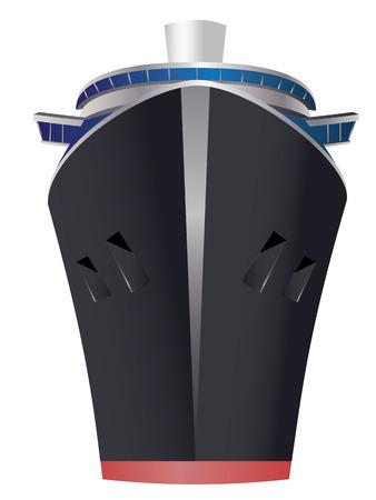 Retro cruise liner illustration on white background. Illustration