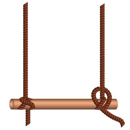 wooden stick: Wooden stick hang on an old rope over white background.