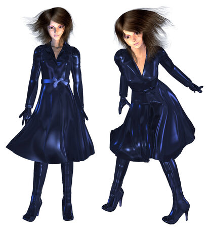 leather coat: Digitally rendered illustration of a woman in leather coat of dark blue color.