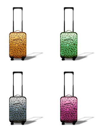 Set of colorful travel suitcases on wheels over white background. photo