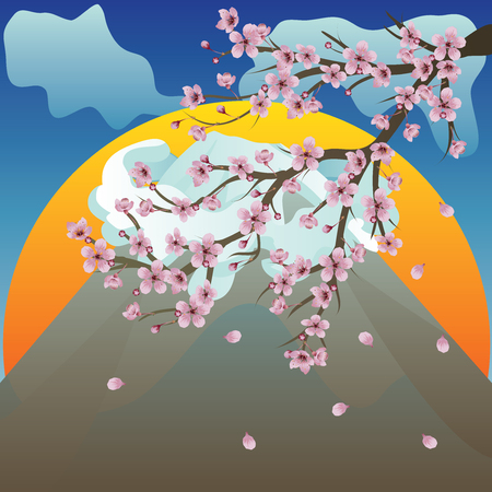 Bright background with volcano and sakura blossom. Vector