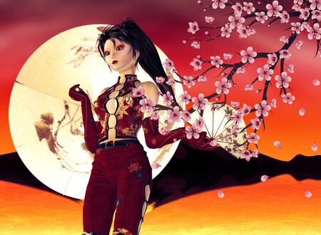 Sunset background with asian girl and pink cherry blossom. photo