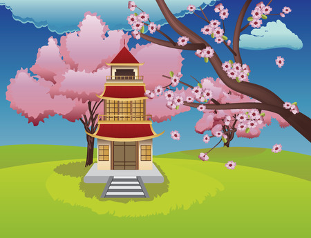 Spring background with vintage oriental house and sakura in bloom. Vector