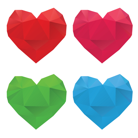 imposition: Set of colorful crystallized hearts on white background.
