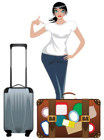 Traveling woman in white t-shirt and jeans with suitcase. Vector