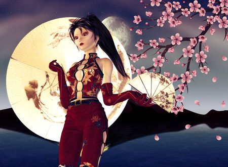Night background with asian girl and pink cherry blossom. photo