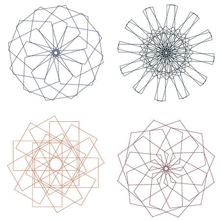oscillation: Conjunto de spirographs en diversas formas y colores.