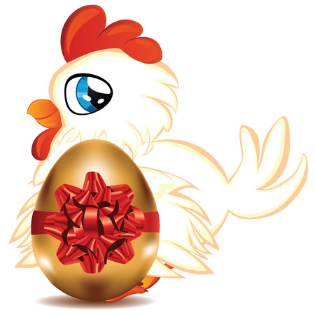 sitter: Cute cartoon white hen with blue eyes and gold egg. Illustration