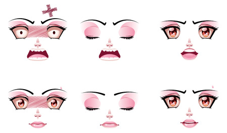 Set of unhappy facial expression of woman. Vector