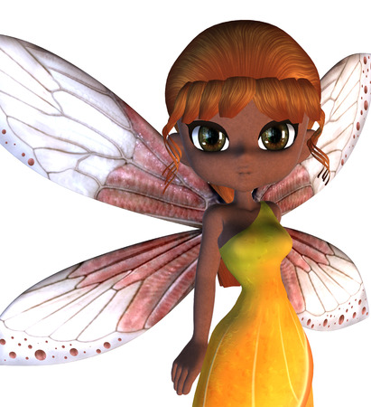 Cartoon fairy in yellow dress with pink wings. photo