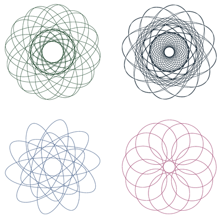 Set of spirographs in various forms and colours.