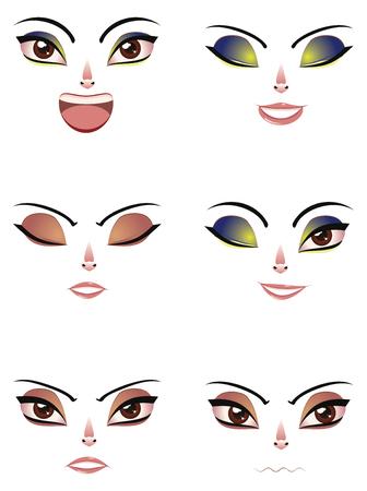 manga style: Different cartoon female facial expression, manga style. Illustration