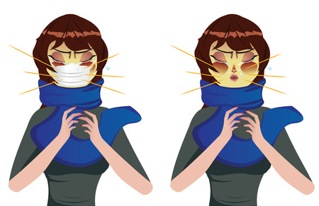 Cartoon woman in blue scarf suffering influenza and runny nose. Vector
