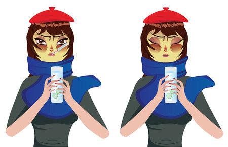 Cartoon woman in blue scarf suffering influenza and take some medicine. Stock Vector - 27460640