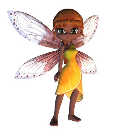 fey: Cartoon fairy in yellow dress with pink wings.
