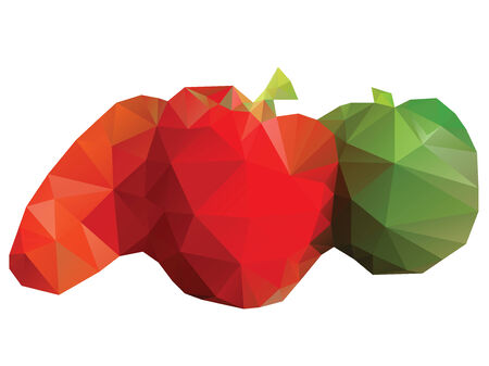 Abstract triangle polygonal vegetables on white background. Vector