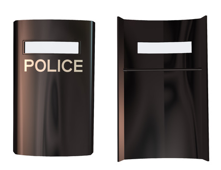 Digitally rendered image of a riot police shield on white background. photo