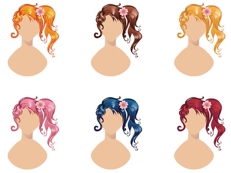 ponytail: Curly side ponytail hairstyle in different colors