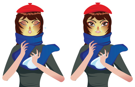 blowing nose: Cartoon woman in blue scarf suffering influenza and runny nose. Illustration