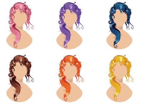pelo ondulado: Conjunto de estilo de pelo ondulado en diferentes colores.