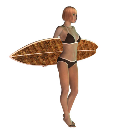 Digitally rendered image of a blond female surfer on white background. photo