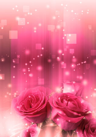 Soft illustration with roses with magic light background. illustration