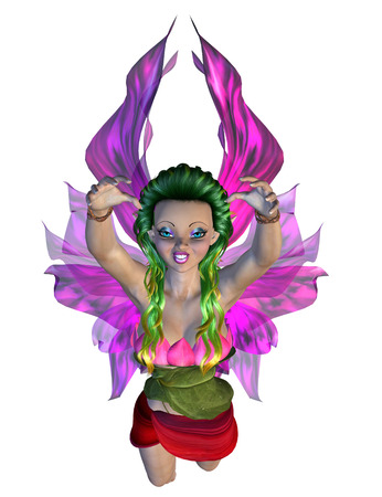 Digitally rendered image of a cute floral fairy on white background. photo