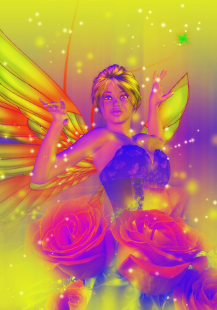 elf queen: Abstract fantasy illustration with fairy and roses. Stock Photo