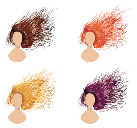 Set of long flowing hair style in different colors. Vector