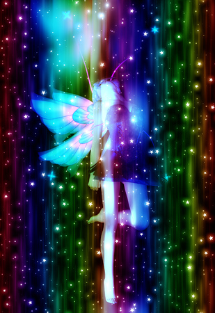 crouch: Abstract illustration with fairy and glowing stars background.