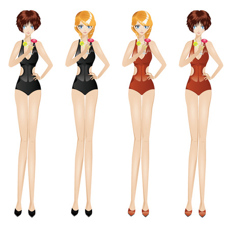 monokini: Cartoon girls in black and red monokini with martini glass. Illustration
