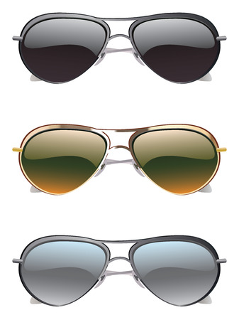 Set of colorful sunglasses on white background. Vector