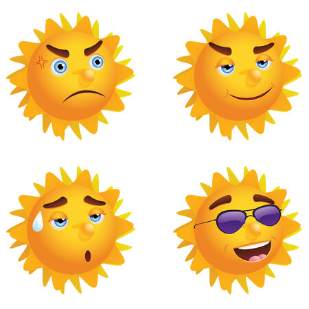 sun icon: Set of sun icon with different emotions on white background. Illustration
