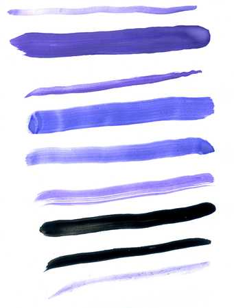 Blue, violet and black brush strokes on white background.