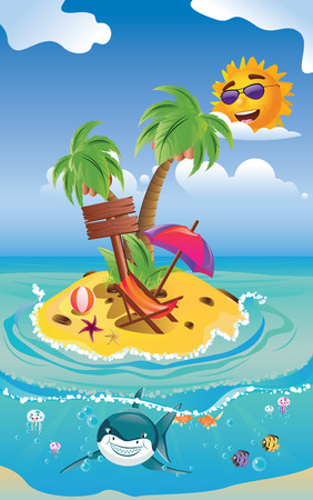Cartoon tropical island in the ocean and smiling shark. Vector