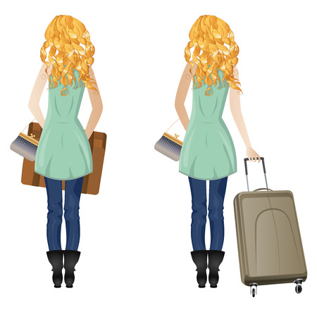 back view: Back view of blonde woman with suitcase on white background. Illustration