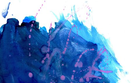 gouache: Abstract grunge gouache paint texture of blue color as background. Stock Photo