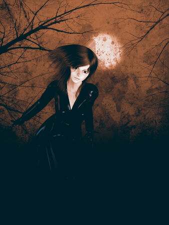 leather coat: Woman in leather coat on red background with moon and trees.