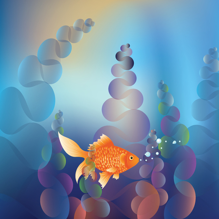 gold fish bowl: Abstract cartoon colorful underwater background with gold fish.