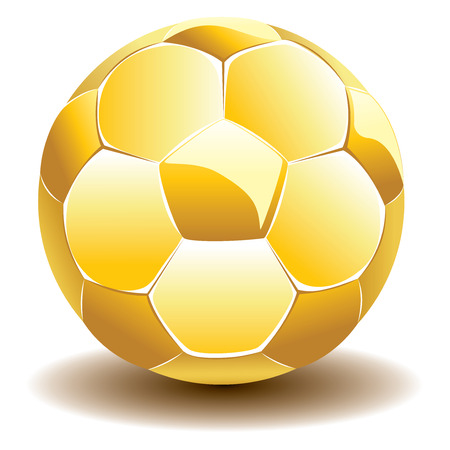 Golden shiny soccer ball illustration on white background. Vector