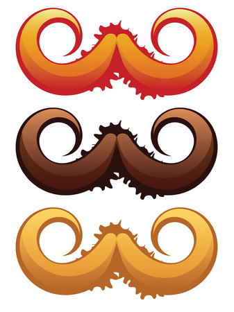 curled lip: Colorful mustaches set with grunge splatters on white background. Illustration