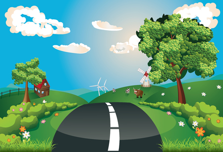 rural road: Summer green rural landscape with a road and trees illustration.