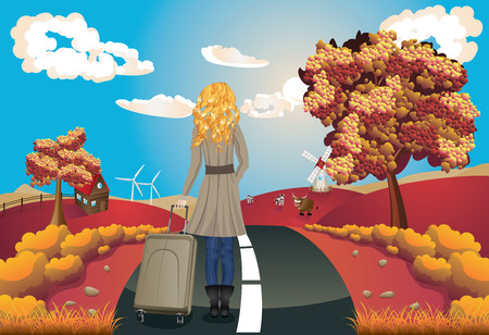 rural road: Autumn rural landscape with a road, trees and girl tourist illustration. Illustration