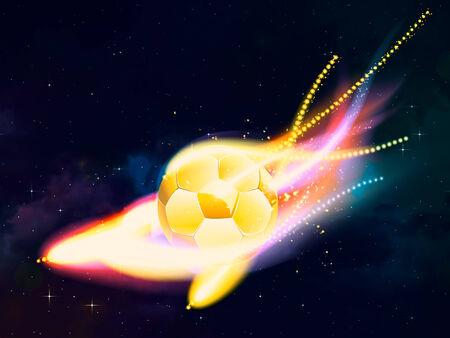 Soccer ball with colorful flame flying over universe background. photo