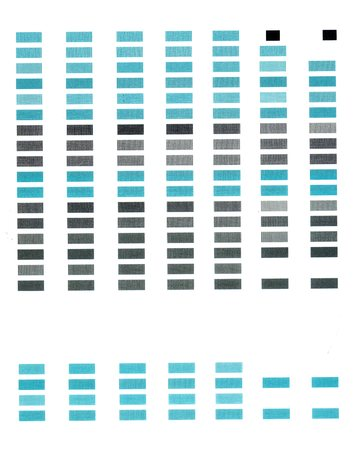 collate: Simple test print page with rows of rectangles of blue color. Stock Photo