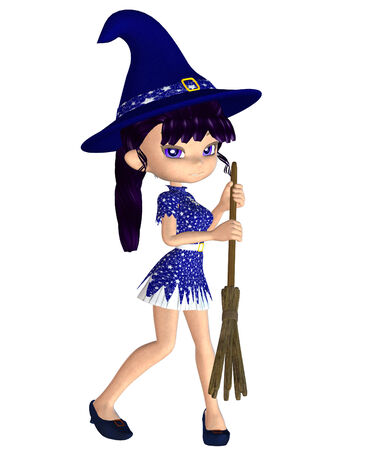 harridan: Digitally rendered image of a cute cartoon witch with broom.