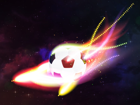 spaceflight: Soccer ball with colorful flame flying over universe background. Stock Photo