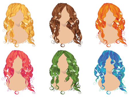Set of curly hair styles in different colors.