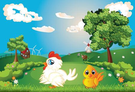 rural scene: White hen with chicken on lawn, summer rural scene. Illustration