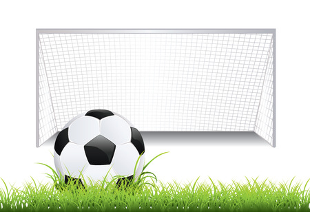 ballsport: Black and white soccer ball and soccer goal.